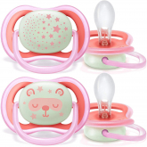 Pack de 2 chupetes Ultra Air Nocturnos 6-18 meses Philips Avent Rosa