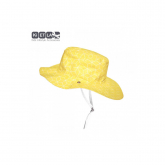 Gorro reversible 100% protección anti UV estampado amarillo/blanco