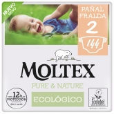 Pack ahorro Pañales Moltex Pure & Nature T2 (3-6 kg) 144 uds