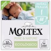 ​Pack ahorro Pañales Moltex Pure & Nature T1 (2-5kg) 88 uds