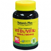 Vitamina D3 / K2 Nature's Plus, 90 cápsulas