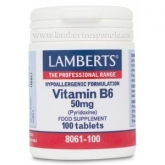 Vitamina B6  50 mg Lamberts, 100 tabletas