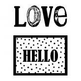 Selo transparente love/hello