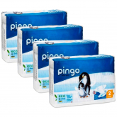 Pack 4x Pañales Pingo T2 (3-6kg) 168 unidades